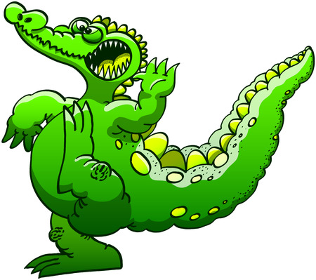 executing: Funny green alligator while executing a fighting pose consisting on raising an arm and a leg and keeping balance with its big tail while wide opening its mouth to show how much it can be threatening Illustration
