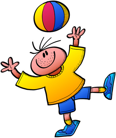 cartoon ball: Cool boy smiling, wearing a yellow tee and blue shorts and playing animatedly while throwing a colorful ball up and stretching his arms to trap it again Illustration