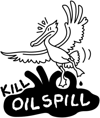 perturbing: Worried pelican trying to fly when being trapped by a black hand making part of a threatening spot of oil spill which has a message that says kill oil spill Illustration