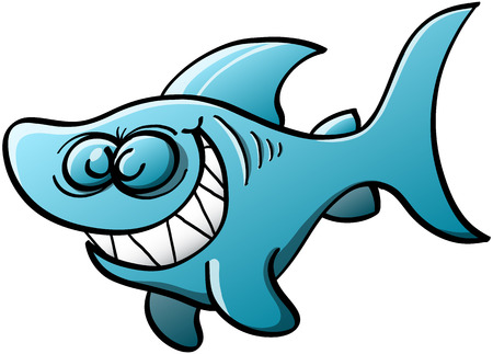 perturbing: Little blue shark with big fins and tail while swimming, closing its eyes and grinning mischievously