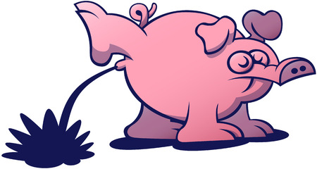 disrespectful: Irreverent pink pig with long snout, bulging eyes and big ears when pissing, raising a hind leg as a dog does, with a very disrespectful attitude
