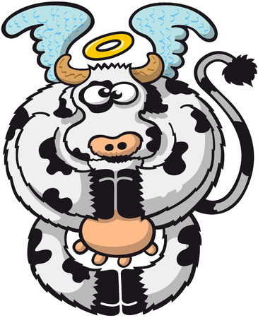 aureole: Spotted chubby cow with a halo on top of its head while floating thanks to its wings, posing, staring at you and praying by joining all its hooves in a very holy and funny attitude