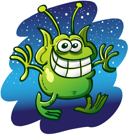 impish: Funny green alien with bulging eyes, pointy ears and a pair of antennae while staring at you, grinning, extending its arms and walking cautiously with a scene of the space full of stars as background