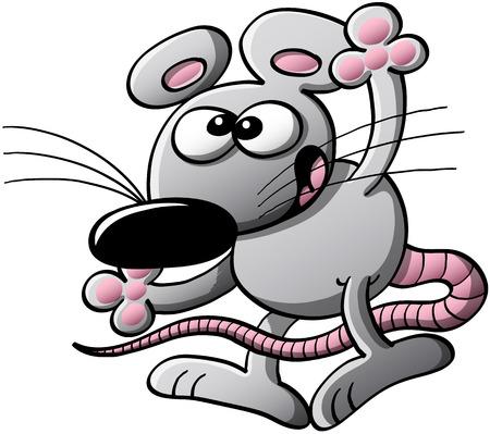 Gris rat�n fresco con grandes orejas y la nariz mientras se habla, caminar y levantar la mano como para saludar y dar la bienvenida Vectores
