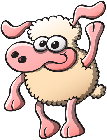 chirpy: Nice sheep with bulging eyes and long ears while smiling, staring at you and raising an arm as for greeting and welcoming Illustration