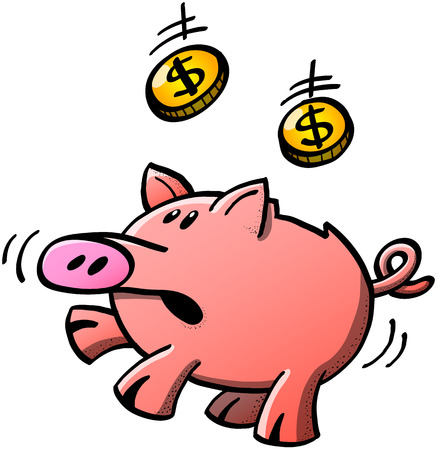 slot in: Cute piggy bank feeling worried when looking at a pair of dollar coins falling down and trying to trap them directly in its slot Illustration