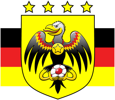 German black eagle posing, smiling mischievously, staring at you, opening its wings, showing a starred medal hanging from its neck and holding a soccer ball with its talons Vector