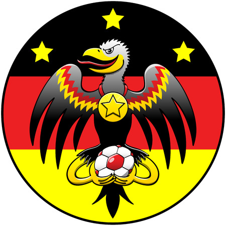 mischievous: Black eagle with hooked beak, large wings and mischievous expression while holding a soccer ball, posing inside a circle with the German flag and three stars and showing a fourth star in a gold medal