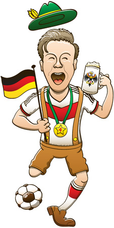 Happy man wearing traditional German clothing while drinking beer, waving a flag, kicking a ball and celebrating animatedly the victory of the football team with a gold medal hanging from his neck Vector