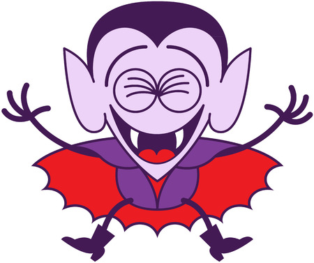 clenching: Cool vampire in minimalist style with pointy ears, sharp fangs, hairstyle and red cape while clenching his eyes, laughing enthusiastically and jumping as for celebrating something