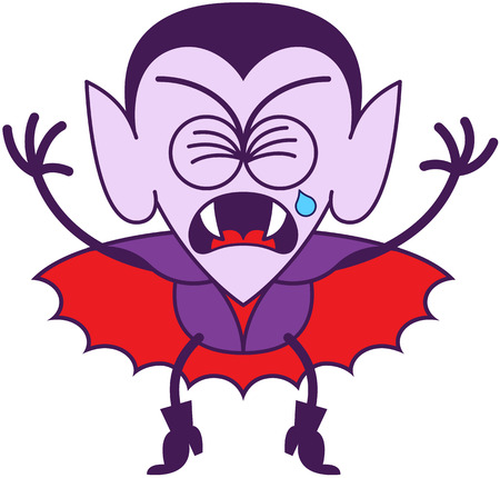 Cute vampire in minimalist style with pointy ears, sharp fangs, hairstyle and red cape while clenching his eyes, crying bitterly and showing a very sad mood