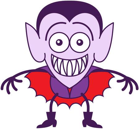 awkward: Niza vampiro en estilo minimalista, con orejas puntiagudas, colmillos afilados, el peinado y el cabo rojo mientras sonriendo y mostrando sus dientes en un estado de �nimo avergonzado Vectores