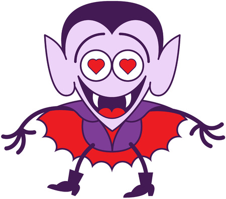 Funny vampire in minimalist style with pointy ears, sharp fangs and red cape while smiling enthusiastically and showing that he is madly in love