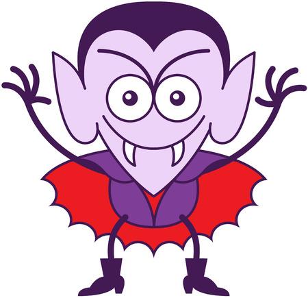 Sivri kulakları, keskin dişleri ve kırmızı pelerinli ile minimalist tarzda Komik vampir gülümseyen ve yaramaz bir ruh hali gösterirken
