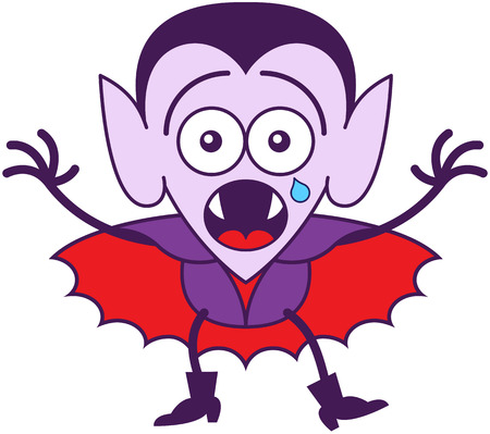 disheartened: Cute vampire in minimalist style with pointy ears, sharp fangs, hairstyle and red cape while showing surprise, crying and a fearful mood