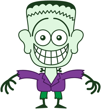 Cute monster in minimalist style with green skin, a stitched wound on his head, bolts through his neck, funny hairstyle, yellow eyes, purple jacket and green pants while grinning in an embarrassed way Illustration