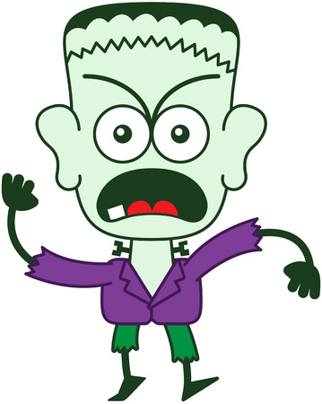 frowning: Green monster in minimalist style with a stitched wound on his head, bolts through his neck, funny hairstyle, yellow eyes, purple jacket and green pants while frowning, yelling and protesting firmly