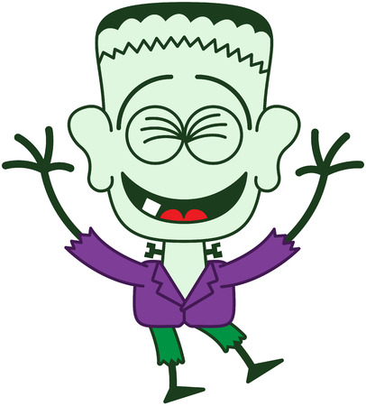 Cute monster in minimalist style with a stitched wound on his head, bolts through his neck, weird hairstyle, purple jacket and green pants while having fun and laughing enthusiastically