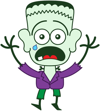 bulging eyes: Tender monster in minimalist style with green skin, a stitched wound on his head, bolts through his neck, funny hairstyle, purple jacket and green pants while feeling frightened and crying Illustration