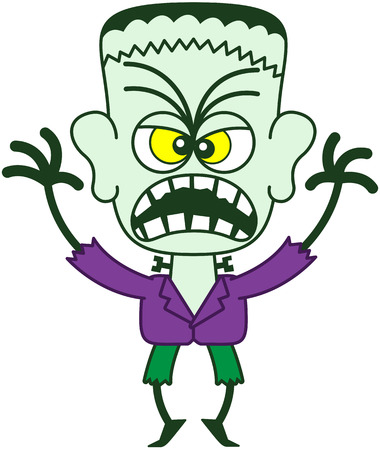 Scary monster in minimalist style with green skin, a stitched wound on his head, bolts through his neck, funny hairstyle, yellow eyes, purple jacket and green pants while showing all his fury