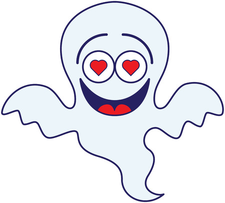 Nice blue ghost in minimalist style, with big head, bulging eyes and red hearts in his eyes, while floating, having fun, laughing and feeling madly in love