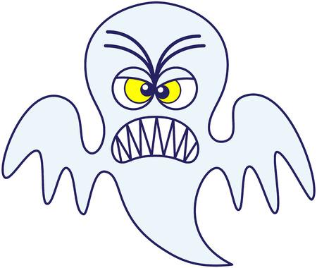 grosse tete: Fant�me bleu col�re dans un style minimaliste, avec une grande t�te et des yeux exorbit�s jaunes, tout en flottant, fron�ant les sourcils, serrant les dents et en montrant une humeur tr�s irrit�e