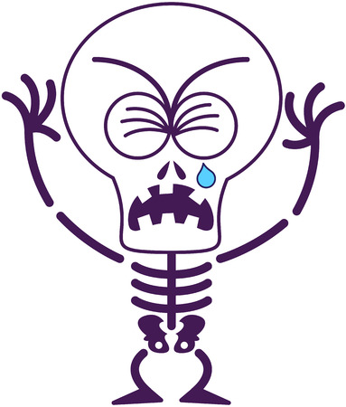 clenching: Cute skeleton with big head, bulging eyes and missing teeth while frowning, clenching its eyes, crying and sobbing in a very sad mood Illustration