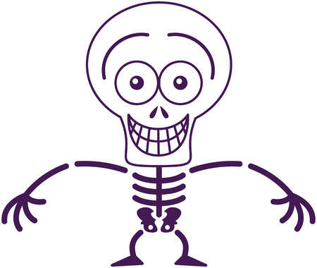 self conscious: Mischievous skeleton with big head and bulging eyes while posing, staring at you and grinning in a very embarrassed mood