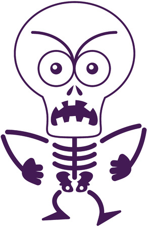 bonny: Angry skeleton with big head, bulging eyes and missing teeth while frowning, staring at you, yelling and clenching its fists in a very irritated mood Illustration