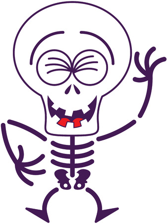 clenching: Cool skeleton with big head, bulging eyes and missing teeth while clenching its eyes, laughing enthusiastically and having fun in a very happy mood