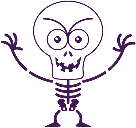 bulging: Malicious skeleton with big head, bulging eyes and missing teeth while frowning, staring at you, smiling and raising its arms in a very mischievous mood