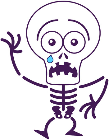 disconsolate: Cute skeleton with big head, bulging eyes and missing teeth while staring at you, crying, raising its right hand and walking in a very scared mood