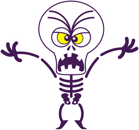 terrifying: Terrifying skeleton with big head, bulging yellow eyes and missing teeth while frowning, raising its arms, standing on tiptoes and yelling in a scary mood Illustration