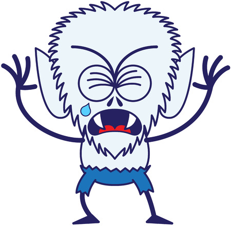 clenching: Cute werewolf with big head, bulging eyes, blue pants, blue fur and sharp fangs while frowning, clenching its eyes, crying and sobbing in a very sad mood Illustration