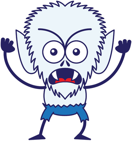 disturbing: Angry werewolf with big head, bulging eyes, blue pants, blue fur and sharp fangs while frowning, staring at you, yelling, clenching its fists in a very irritated mood Illustration