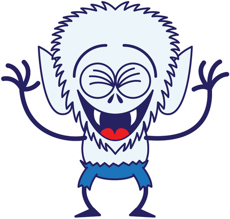 clenching: Cool werewolf with big head, bulging eyes, blue pants, blue fur and sharp fangs while clenching its eyes, having fun, laughing enthusiastically and in a very happy mood
