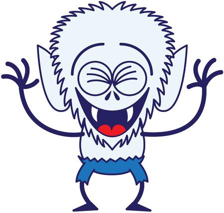 bulging eyes: Raffreddare lupo mannaro con grande testa, occhi sporgenti, pantaloni blu, blu pellicce e zanne affilate mentre stringendo gli occhi, divertirsi, ridendo con entusiasmo e in uno stato d'animo molto felice Vettoriali