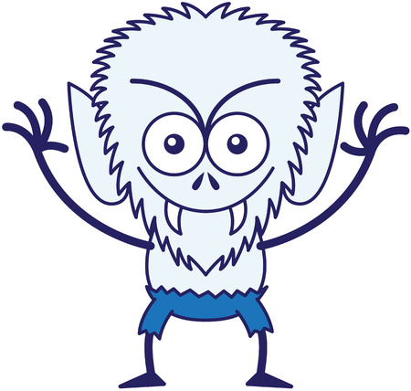 grosse tete: Loup-garou malveillant avec grosse t�te, les yeux exorbit�s, pantalon bleu, fourrure bleue et crocs ac�r�s tout fronc�s, vous regarde en souriant et en augmentant ses bras dans une humeur tr�s intimidant Illustration