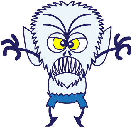 terrifying: Terrifying werewolf with big head, bulging yellow eyes, blue pants and blue fur while frowning, raising its arms, standing on tiptoes and clenching its sharp fangs in a very threatening mood