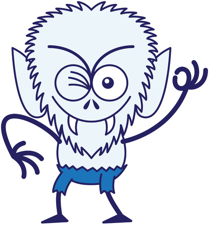 Mischievous werewolf with big head, bulging eyes, blue pants, blue fur and sharp fangs while frowning, smiling, winking and making an OK sign in a very malicious mood Illustration