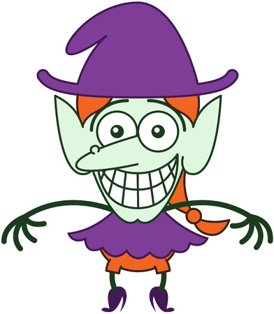self conscious: Funny red-haired witch with purple clothes and hat, big nose, pointy ears and green skin while staring at you, posing and grinning in a very embarrassed mood