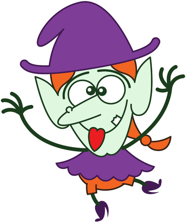 Cute red-haired witch with purple clothes and hat, big nose and green skin while twirling, smiling, crossing her eyes, sticking her tongue out, raising her arms and making funny faces in a joyful mood Vector