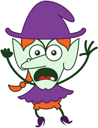 Angry red-haired witch with purple clothes and hat, big nose, pointy ears and green skin while frowning, yelling, clenching a fist and raising her arms in a very aggressive mood