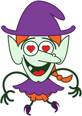 zapatos caricatura: Linda pelirroja bruja con ropa p�rpura y sombrero, nariz grande, orejas puntiagudas, los ojos rojos del coraz�n y la piel verde, mientras que saltar, sonriendo y sintiendo locamente enamorado
