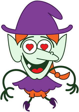 Cute red-haired witch with purple clothes and hat, big nose, pointy ears, red heart eyes and green skin while jumping, smiling and feeling madly in love Illustration