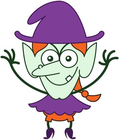 zapatos caricatura: Weird pelirroja bruja con ropa p�rpura y el sombrero, nariz grande, orejas puntiagudas y piel verde, mientras frunciendo el ce�o, sonriendo y levantando los brazos en un estado de �nimo muy travieso Vectores