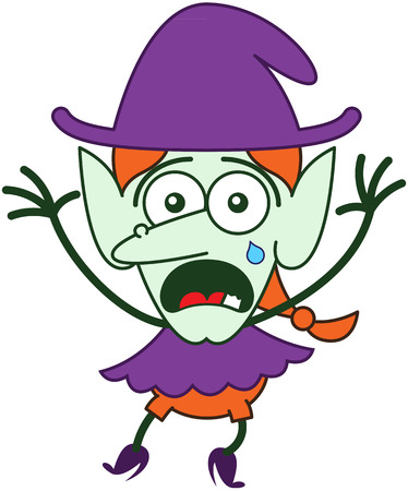 disquieted: Cute red-haired witch with purple clothes and hat, big nose, pointy ears and green skin while crying, yelling and raising her arms in a very distressed mood