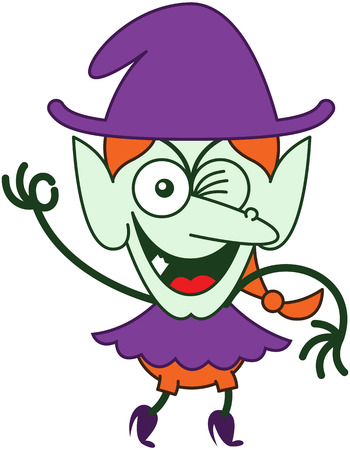 mischievous: Mischievous red-haired witch with purple clothes and hat, big nose, pointy ears and green skin while frowning, smiling, winking and raising her right arm to make an OK sign in a very enthusiastic mood Illustration