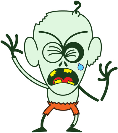clenching: Angry bald zombie with bulging eyes, green skin, big ears and orange pants while crying, clenching his eyes, yelling and raising his arms in a very agitated mood