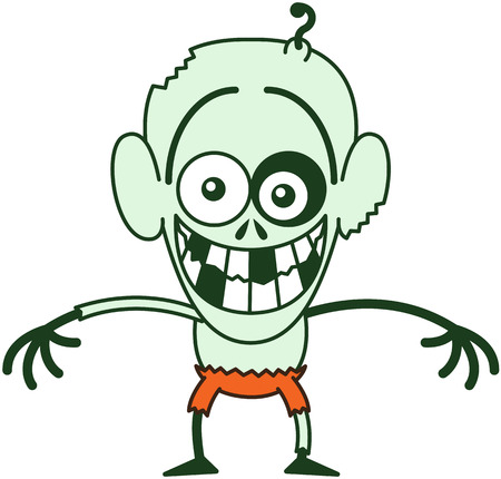 self conscious: Funny bald zombie with bulging eyes, green skin, big ears and orange pants while staring at you, posing and grinning in a very embarrassed mood